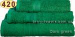 Рушник 40х70 см темно-зеленого кольору 420 г/м2