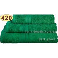 Полотенце 40х70 см темно-зеленого цвета 420 г/м2