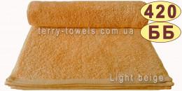 Полотенце 100х150 см бежевого цвета 420 г/м2