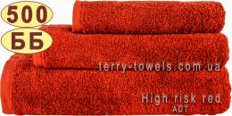 Полотенце 40х70 см красного цвета 500 г/м2