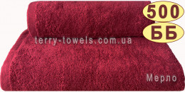 Полотенце 70х140 см бордового цвета 500 г/м2
