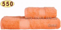 Полотенце 50х70 см кораллового цвета 550 г/м2