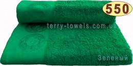 Полотенце Дамаск 50х90 см зеленого цвета 550 г/м2