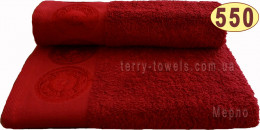 Полотенце Дамаск 50х90 см бордового цвета 550 г/м2
